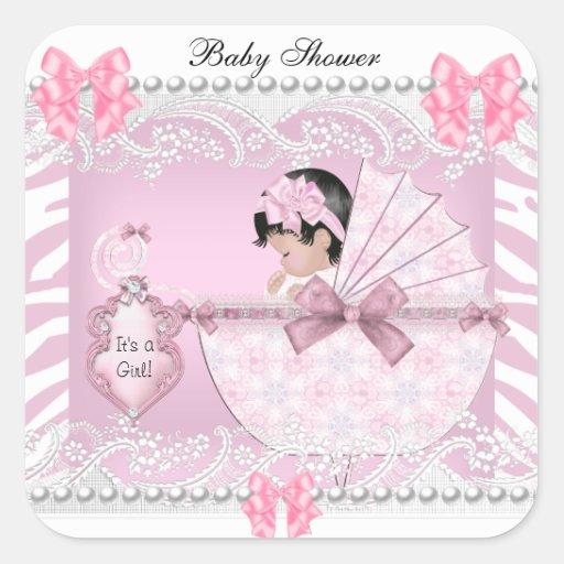 Roze Kant van het Meisje van het Baby van het Vierkant Sticker