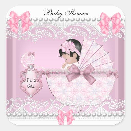 Roze Kant van het Meisje van het Baby van het Vierkant Stickers