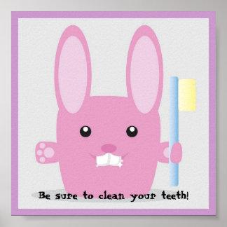 Roze konijntje het schoonmaken tandenawerness poster