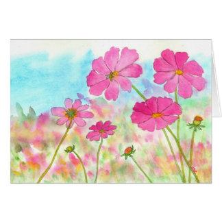 Roze Kosmos Wildflowers van de Kunst van de Kaart