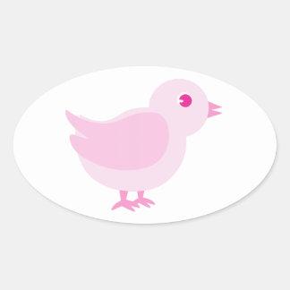Roze Kuiken Ovale Sticker