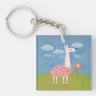 Roze Lama op Heuveltop Keychain Sleutelhanger