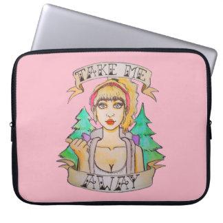Roze Laptop van de Reis Hoesje - Hand Geschilderd Laptop Sleeves