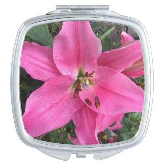 Roze Lelie met Regendruppels Makeup Spiegels