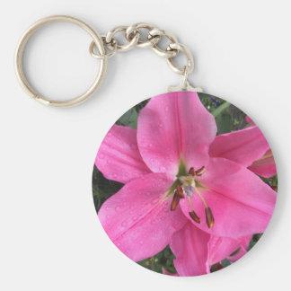 Roze Lelie met Regendruppels Sleutelhanger