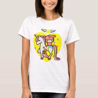 Roze leuk eenhoorn en kawaiihuisdier t shirt
