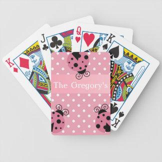 Roze Lieveheersbeestje en Stippen Bicycle Speelkaarten