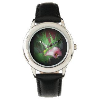 Roze Lilly de fotodruk van de tuinbloem voor Horloge