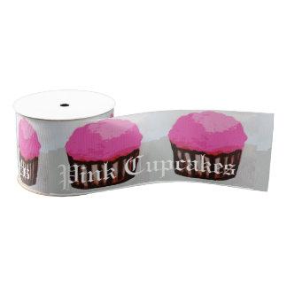 Roze Lint Cupcake met de Tekst van het Huwelijk Grosgrain Lint