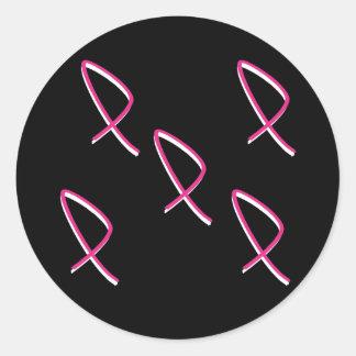 Roze Lint II van de Voorlichting van Kanker van de Ronde Stickers