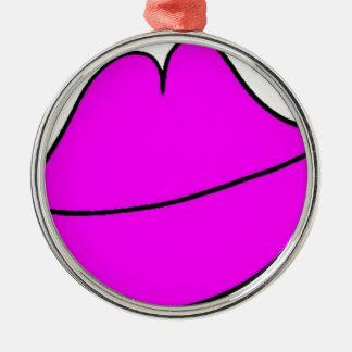Roze Lippen Zilverkleurig Rond Ornament