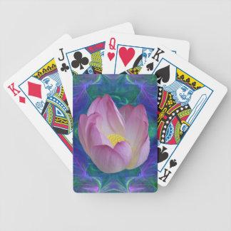 Roze lotusbloem bloem en het betekenen pak kaarten