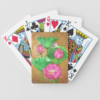 Roze lotusbloem op gouden verfachtergrond poker kaarten
