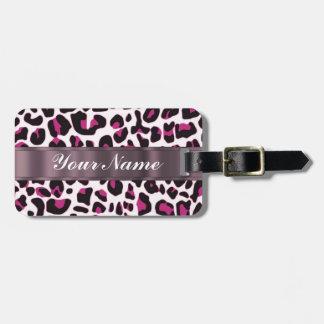 Roze luipaarddruk kofferlabel