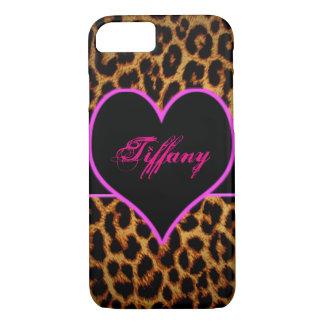 Roze luipaardhart iPhone 7 hoesje
