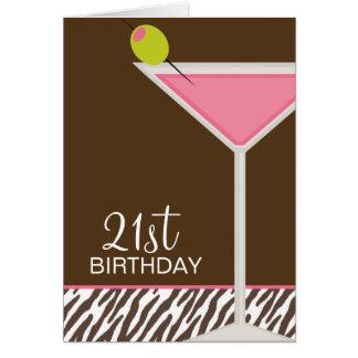 Roze Martini en Gestreept Patroon Kaart