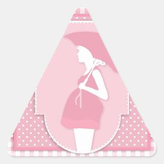 roze moederschap driehoekvormige sticker