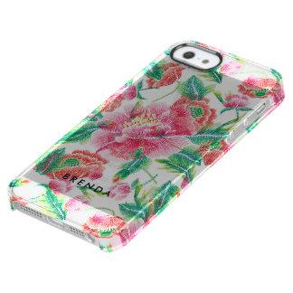 Roze Monogram 2 van het Patroon van Bloemen Doorzichtig iPhone SE/5/5s Hoesje