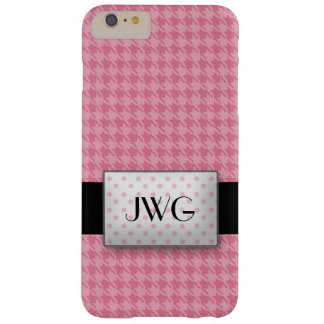 Roze Monogram Houndstooth Barely There iPhone 6 Plus Hoesje