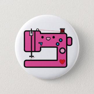 roze naaimachine ronde button 5,7 cm