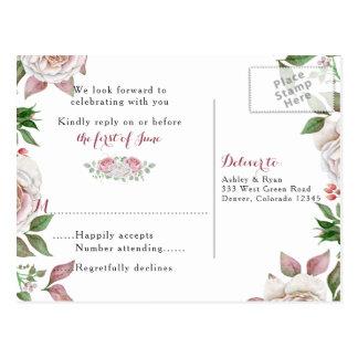 Roze nam Elegant van Bourgondië BloemenHuwelijk Briefkaart