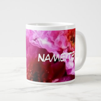 roze natte bloemen grote koffiekop