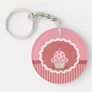 Roze Ontwerp Cupcake 2-Zijden Ronde Acryl Sleutelhanger