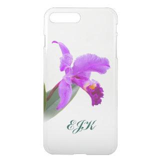 Roze Orchidee met Monogram iPhone 7 Plus Hoesje