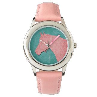 Roze Paard op Turkoois Horloge