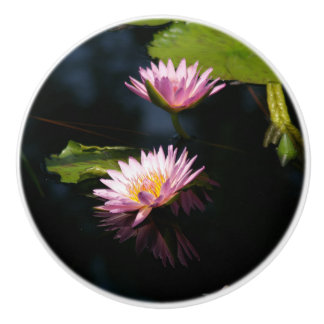 Roze Paars Lotus Waterlilies Keramische Knop
