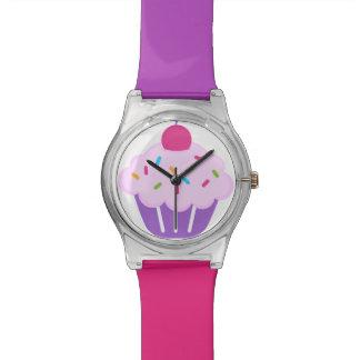 Roze & Paarse Cupcake met het Horloge van de Kers