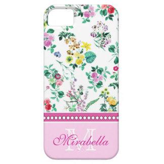 Roze paarse rode gele wildflowers & rozen, naam barely there iPhone 5 hoesje