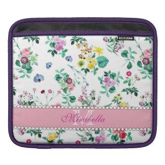 Roze paarse rode gele wildflowers & rozen, naam iPad beschermhoes
