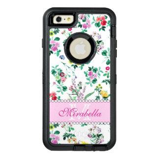 Roze paarse rode gele wildflowers & rozen, naam OtterBox defender iPhone hoesje