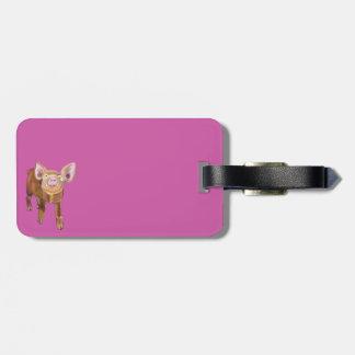 Roze Piggy Bagagelabel