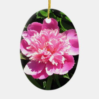 Roze Pioen Keramisch Ovaal Ornament