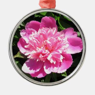 Roze Pioen Zilverkleurig Rond Ornament