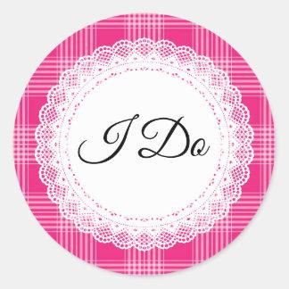 Roze Plaid doe ik de Stickers van het Huwelijk