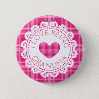 Roze Plaid I Liefde die de Knoop van de Oma zijn Ronde Button 5,7 Cm