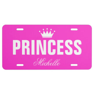 Roze prinsesnummerplaat met gepersonaliseerde naam nummerplaat