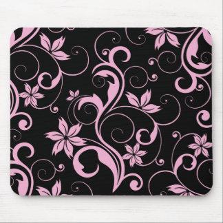 Roze Retro Modern BloemenPatroon Elegante Mousepad Muismat