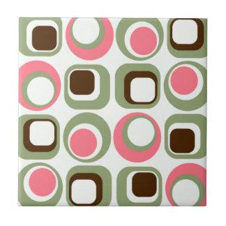 Roze Retro Vierkanten & Cirkels Tegeltje
