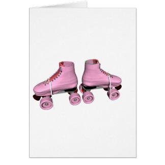 Roze Rolschaatsen Wenskaart