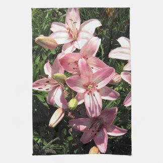 Roze, Roze Witte Aziatische Lelies Theedoek