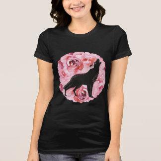 Roze Rozen en het Huilende Zwarte Overhemd van de T Shirt