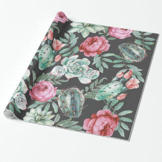 Roze Rozen en het Succulente Patroon van de Cactus Cadeaupapier