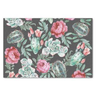Roze Rozen en het Succulente Patroon van de Cactus Tissuepapier