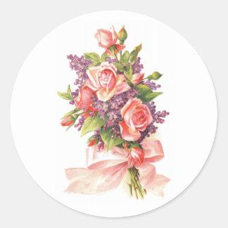 Roze Rozen en Viooltjes Ronde Sticker