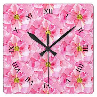 Roze Rozen Vierkante Klok