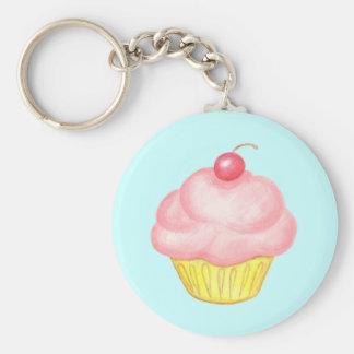 Roze Sleutelring Cupcake Basic Ronde Button Sleutelhanger
